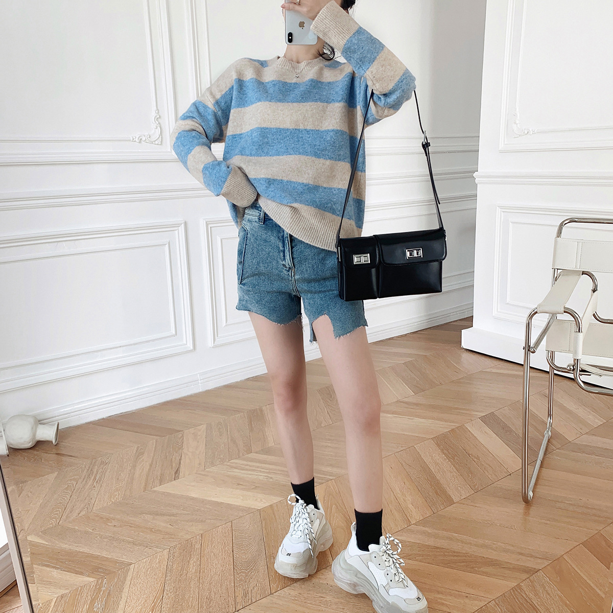 Fall 2020 new top women B languid mohair wool blended knitwear horizontal sweater womens Pullover