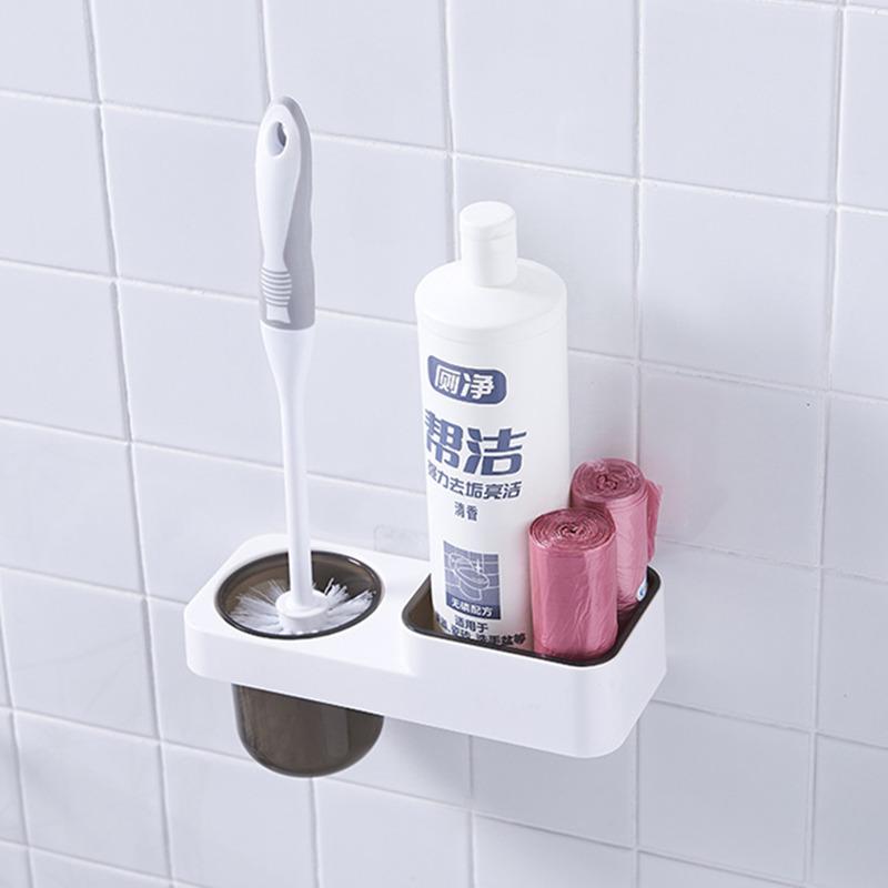 马桶刷子套装无去死角家用卫生间洗厕所壁挂式免打孔长柄刷架神器(用1元券)