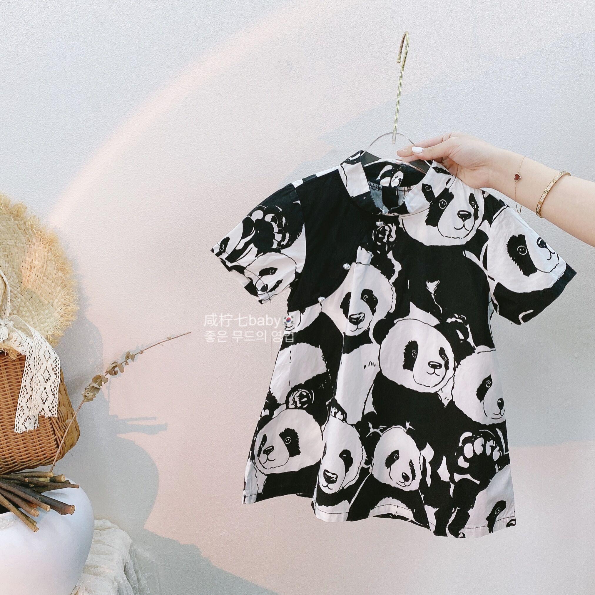 女童夏装连衣裙2021夏季女宝宝A字裙熊猫旗袍女孩洋气短袖裙子