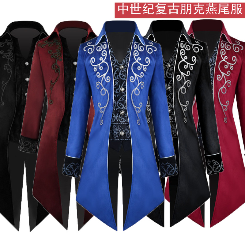 Halloween European and American tuxedo medieval retro court Prince costume Gothic mid long punk mens costume