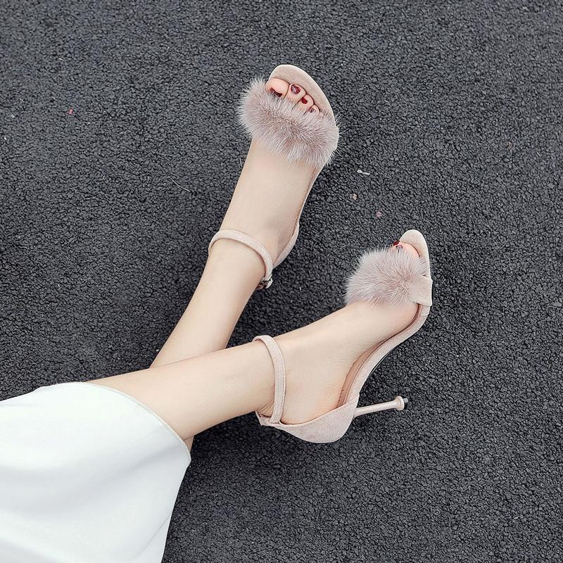 兔毛凉鞋女2019新款夏季裸色露趾一字带细跟法式少女高跟鞋网红鞋