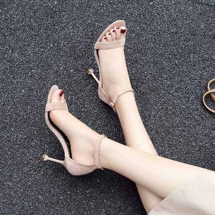 高跟凉鞋女2019夏季新款韩版百搭性感细跟大码一字带露趾网红鞋子