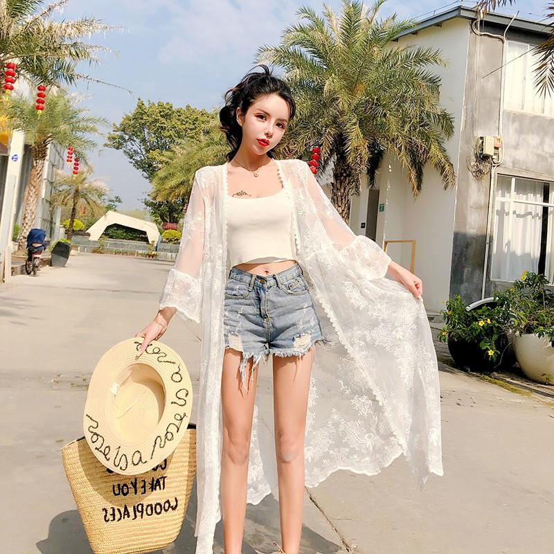 洋气流行中长款开衫外套薄款女夏季海滩度假泳衣比基尼外搭防晒沙