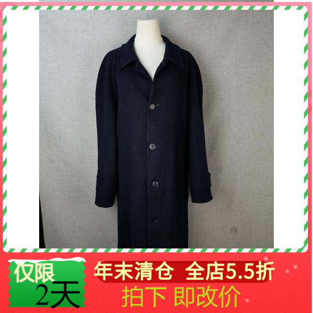 Vintage Japanese womens casual cashmere blend coat double sided cashmere Navy long coat r1371