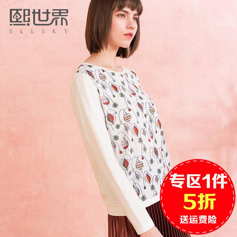 【1件5折】熙世界长袖直筒圆领印花T恤女白色上衣女潮打底衫外套