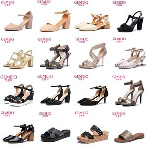 戈美其夏季新款时尚平底高跟女凉鞋一字扣带厚底舒适低跟沙滩女鞋