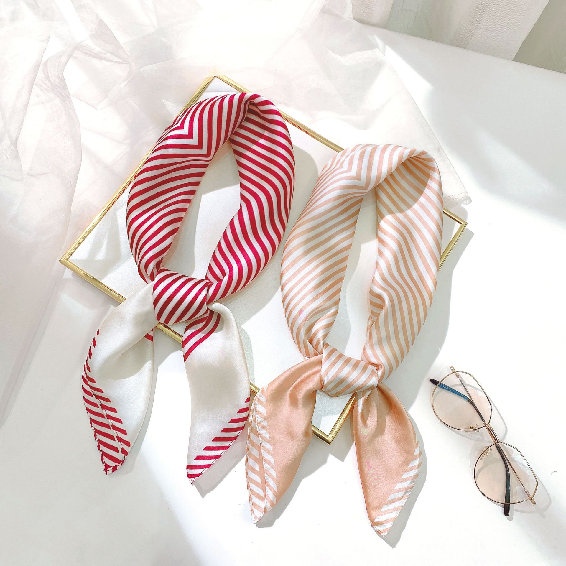 New style small square scarf stripe simulation silk scarf women Japan and South Korea sweet decoration professional small scarf printing versatile scarf