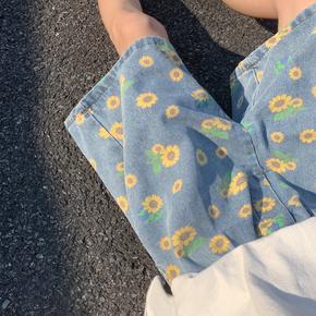夏季ins小雏菊印花休闲牛仔短裤男女情侣韩版宽松痞帅五分直筒裤