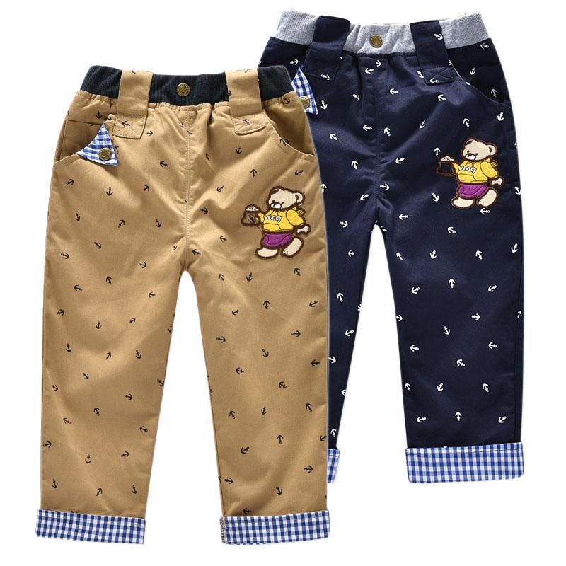 儿童2020春秋新款韩版小熊男童长裤休闲梭织可卷边男宝宝裤子童装