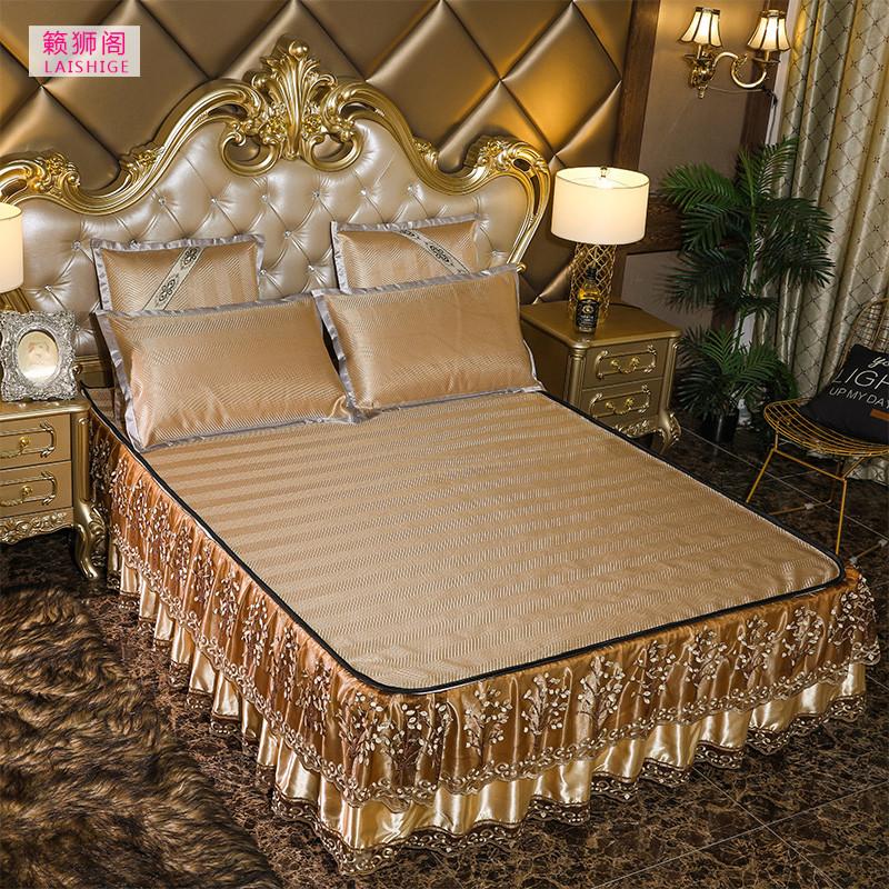 夏季可水洗冰丝席床裙款欧式床罩凉席三件套1.8米可折叠拆洗藤席,可领取10元天猫优惠券