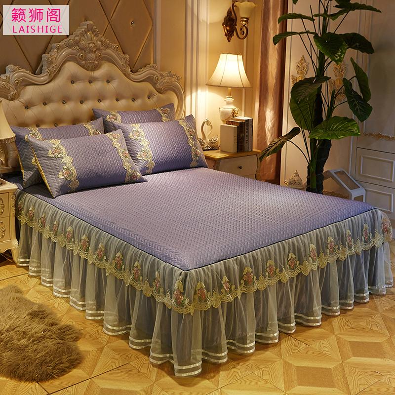 可水洗冰丝席三件套1.8/2米蕾丝床罩床裙凉席可折叠加厚空调席
