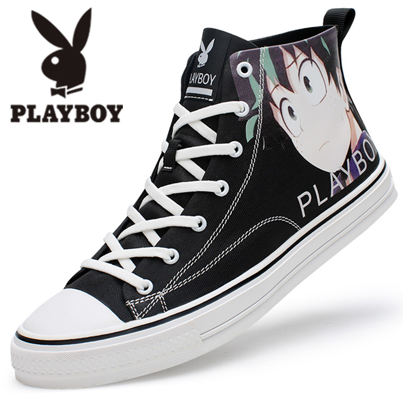 Playboy men's shoes spring cartoon graffiti high top canvas shoes men's trend casual shoes students' all-around fashion shoes