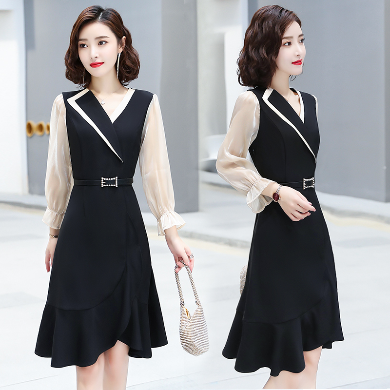 黑色西装连衣裙女2020秋季新款收腰显瘦裙子长袖高端名媛气质长裙