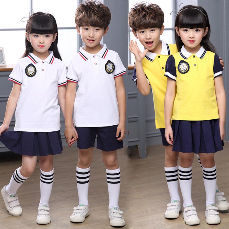 小�W生校服夏�b短袖�棉套�b幼��@�@服夏季英���L�和�六一合唱服