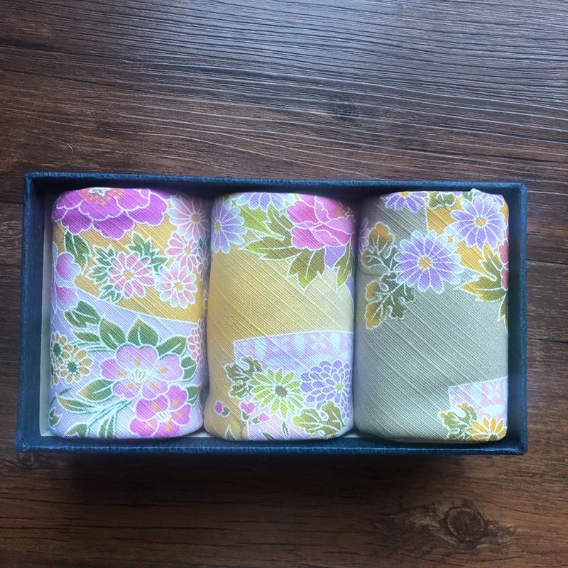 蛋粉手帕 日本进口印花竹节棉 扇面锦绣 小风吕敷大尺寸手帕 礼盒