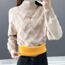 Xiangxin semi high neck sweater bottoming sweater women's Plush thickened slim warm pullover Knitted Top