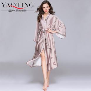 睡衣女春秋季冰丝绸长款睡袍性感浴袍夏季睡裙薄款家居服日式和服