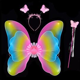 天使蝴蝶翅膀道具儿童奇妙仙子精灵花仙子背饰表演魔法仙女棒