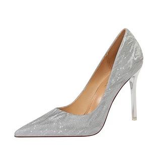 高跟鞋女細跟10cm2019新款歐美百搭性感銀色禮服尖頭氣質水晶婚鞋