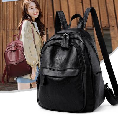 曼柔双肩包女士新款韩版百搭软皮包包简约时尚背包大容量休闲书包