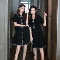 2020新款日系閨蜜裝不一樣的姐妹裝針織連衣裙ins風寬松夏季學生