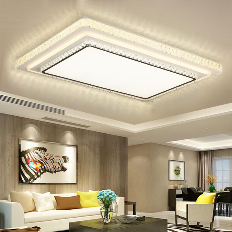 2020年新款水晶长方形客厅灯简约现代大气圆形房间卧室led吸顶灯