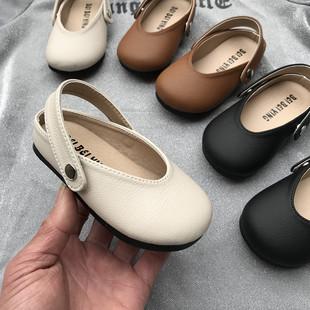 透气韩版 女童皮鞋 春秋新款 防滑软底小童夏包头凉鞋 宝宝单鞋 公主鞋