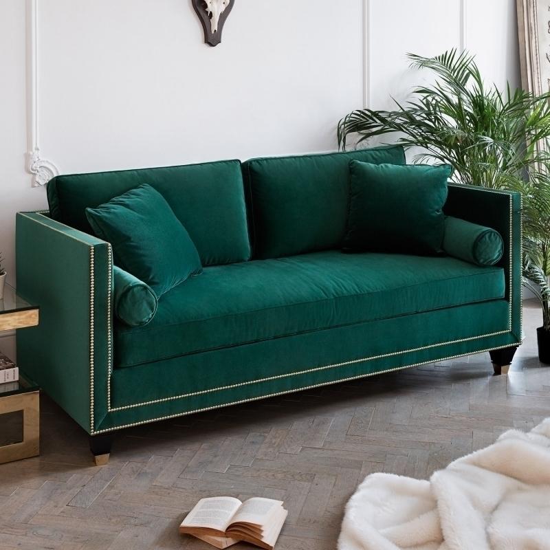 American style retro green fabric sofa, European style imported Italian VELVET SOFA, single person, double person and three person combination sofa