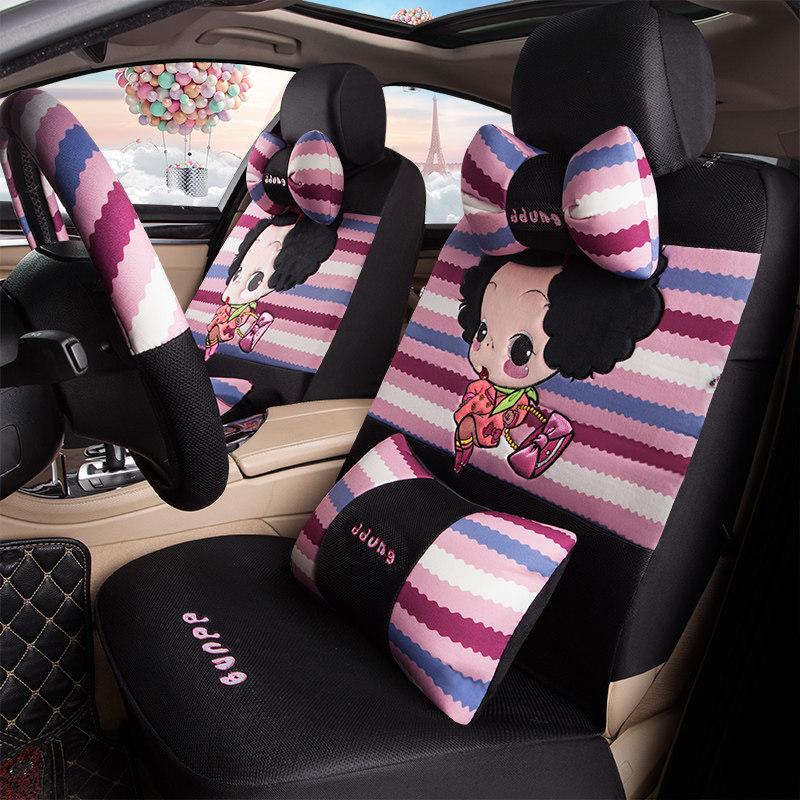 卡通汽车座套四季通用全包围可爱女士汽车坐垫冬季座垫布艺座椅套