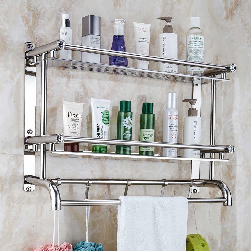 卫生间浴室置物架壁挂双层毛巾架不锈钢免打孔2层3层厕所卫浴挂件