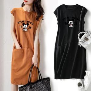 CX5409# 最便宜服装批发 *夏季新款流行款宽松显瘦纯色T恤连衣裙女装韩版中长款仙女裙