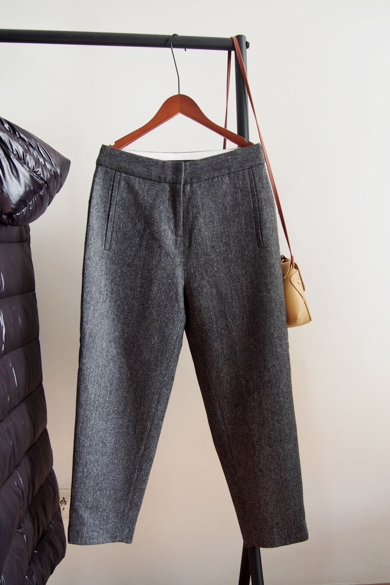 Static distance winter double 11 40 spot hook buckle wool picture gray wool trousers casual trousers