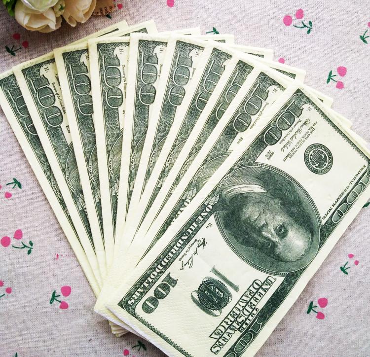 12包 仿真美元图案彩色印花纸巾1:1大张美金餐厅用3层加厚纸巾