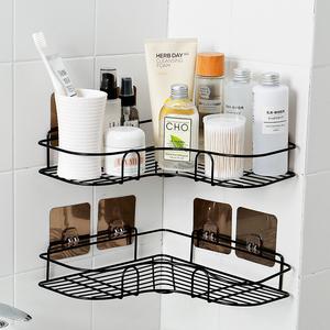 浴室免打孔转角置物架卫生间洗漱架厕所吸壁式三角架厨房壁挂收纳