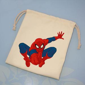 定制纯手工蜘蛛侠束口袋帆布收纳袋抽绳袋手机布袋子小布袋