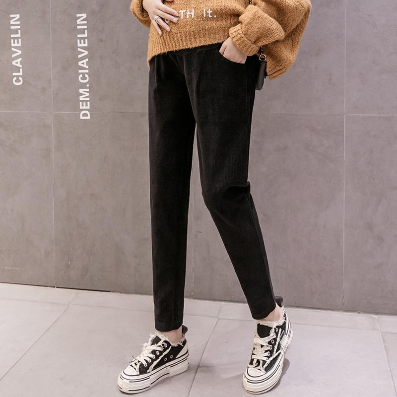 实拍灯芯绒#孕妇裤子秋冬季外穿加绒加厚保暖裤羊羔绒休闲束脚裤