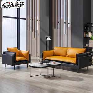 简约现代办公沙发商务办公室三人位真皮休闲接待会客家具茶几组合