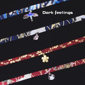 包邮日本和风复古仙鹤樱花流苏choker暗红色个性颈带脖项圈链饰品