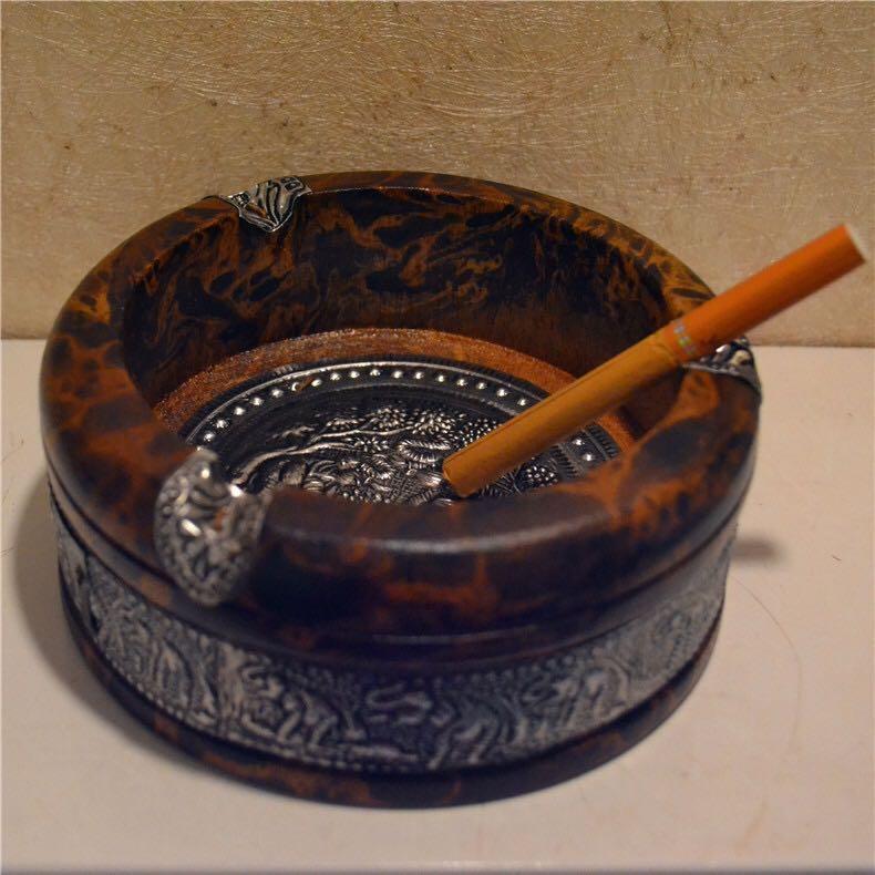 【祝融烟具】创意烟灰缸泰国芒果木实木烟灰缸木质大象复古烟灰缸