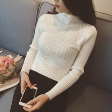 秋冬半高领修身螺纹内搭打底衫女子贴身针织衫紧身毛衣