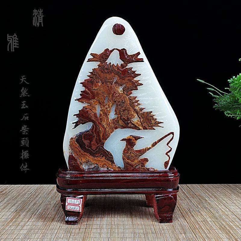 Afghanistan ornamental jade handicraft ornaments natural stone office pattern transfer Wangcai crystal stone