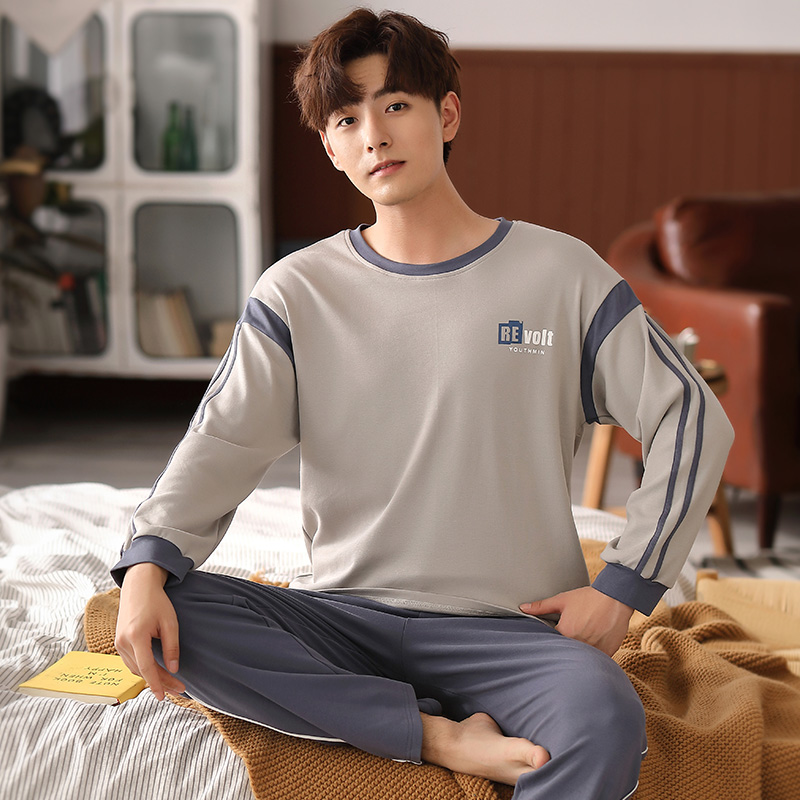 Korean pajamas mens spring autumn cotton long sleeve thin youth plus size sports leisure mens home suit