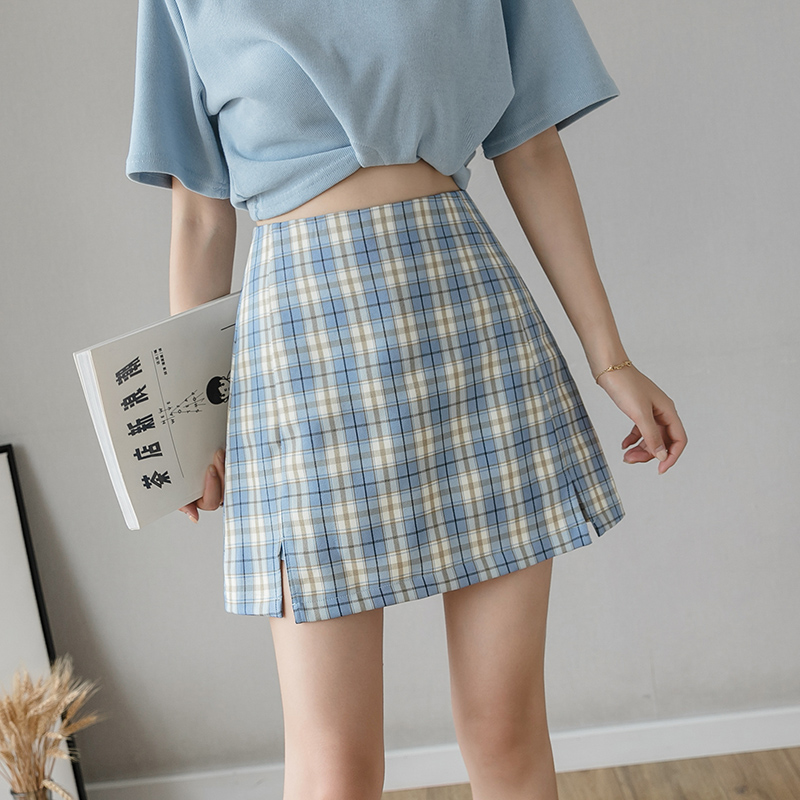 Lemon shop plaid skirt womens 2020 summer high waist college short skirt with thin slit A-line skirt
