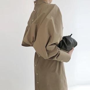 新款 秋季 排扣帅气风衣式 可咸可甜 连衣裙 气质简约自留款