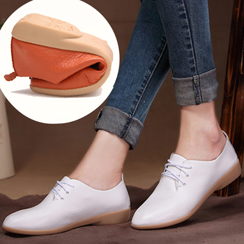 Pointed small white shoes womens casual and breathable mothers shoes white nurses shoes pregnant womens flat sole shoes Oxford dancing shoes