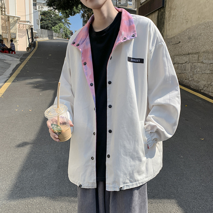Hong Kong style ins fashion wild men and women double-sided jacket Korean version of the trend of personality couple tops Japanese hip-hop jacket