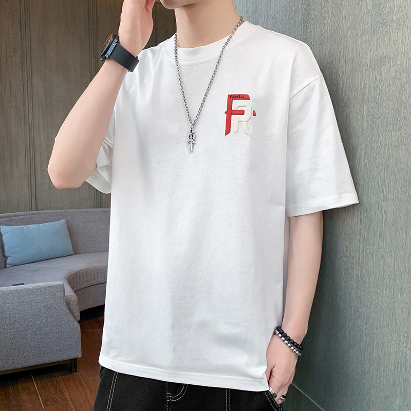 Summer short sleeve T-shirt boys summer clothes junior high school students trend pure cotton trendy brand loose half sleeve clothes