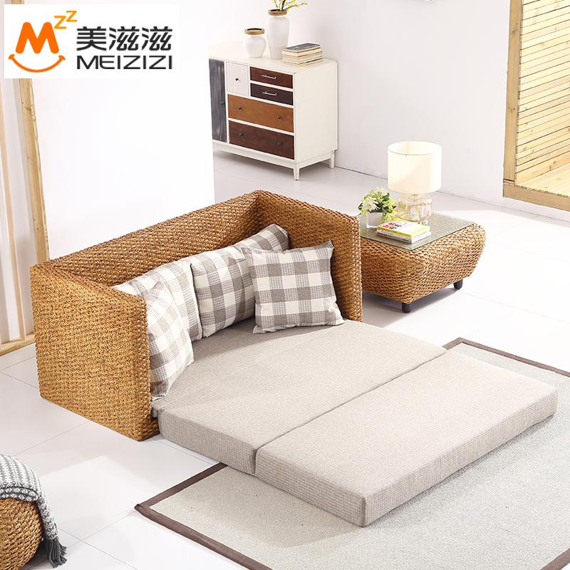 藤编制多功能沙发床可折叠客厅小户型双人藤艺家具两用1.8米1.5米