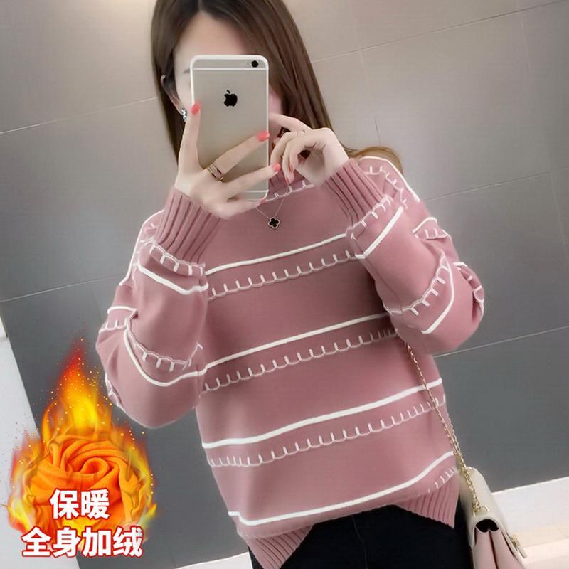 高领毛衣女冬季新款2020加绒加厚保暖韩版宽松短款外穿学生打底衫