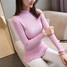 Đoạn ngắn đầu vòng cổ băng lụa đáy áo sơ mi nữ lỏng áo len mỏng mùa xuân và mùa hè ngắn tay t-shirt của phụ nữ áo triều